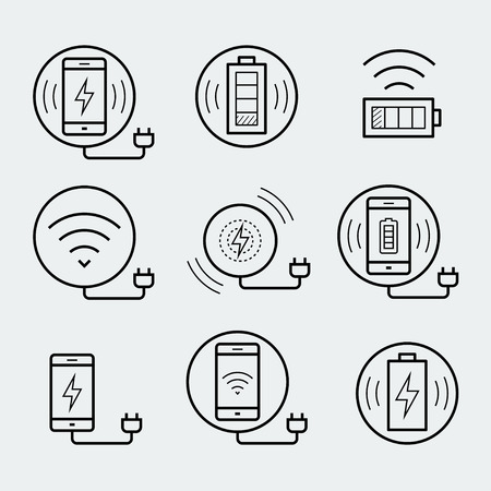 Wireless charger for smartphone or tablet icon set
