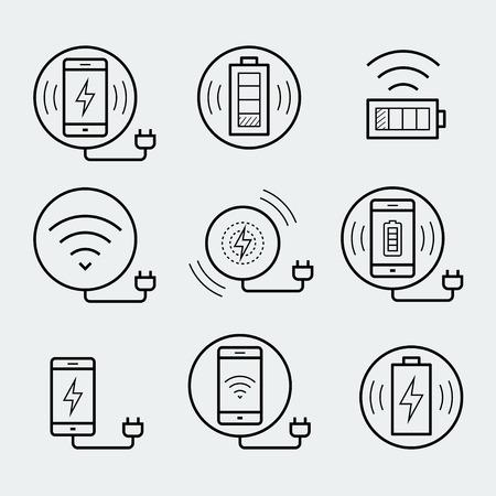 Draadloze oplader voor smartphone of tablet icon set Stock Illustratie