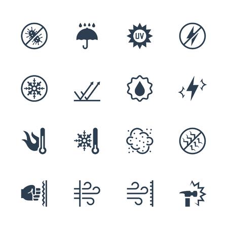 Vektor-Icons Set von externen Einflüssen und den Schutz von ihm. Antibakteriell, Wasser, Hitze, Kälte, Staub, Schlag- und Kratzfestigkeit, UV-Strahlen, stoßfest, winddicht, antistatische und etc. Vektorgrafik