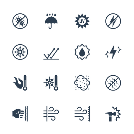 Vector icons set of external influence and protection from it. Antibacterial, water, heat, cold, dust, impact and scratch resistance, UV rays, shockproof , windproof, antistatic and etc.