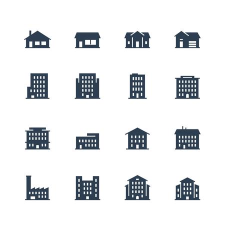 Mehrfamilienhäuser und Häuser Icon-Set