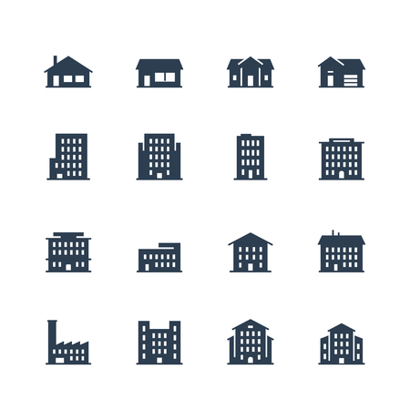 Apartment buildings and houses icon set