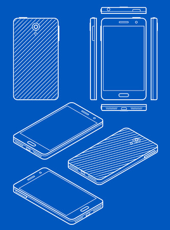 illustration isolated: Mobile phone drawing in blueprint style Illustration