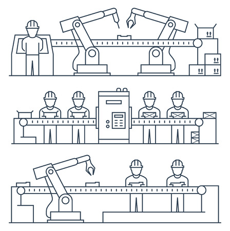 Conveyor belt, workers and industrial manufacturing robot. Vector illustration in thin line style
