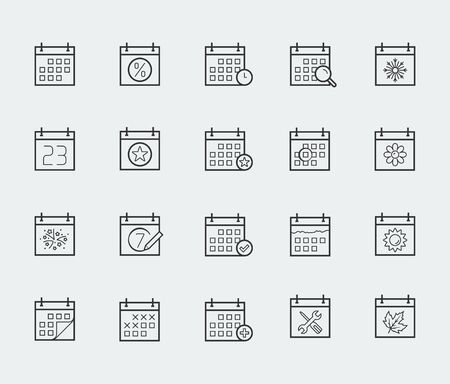 day planner: Vector calendar icon set in thin line style