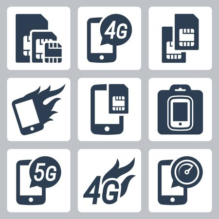 prepaid: Simcards, 4g, 5g and mobile communication related vector icon set Illustration