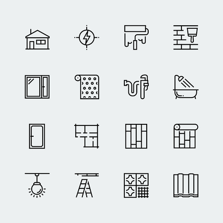 home decorating: Vector icon set of home decorating,overhaul and repair in thin line style