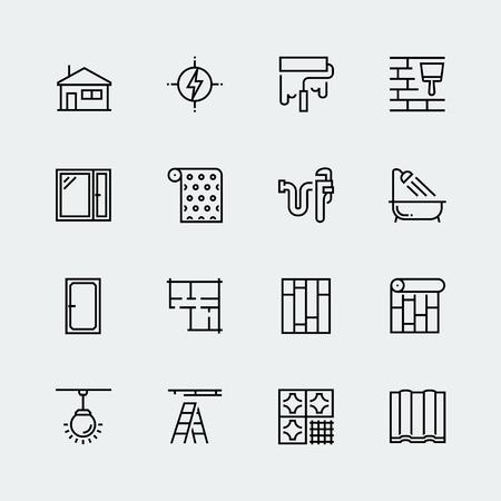 Wektor zestaw ikon dekorowania domu, remonty i naprawy w stylu cienka linia