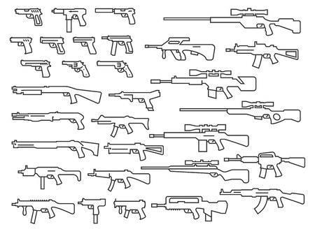 weapons: Vector guns, weapons set in thin line style Illustration