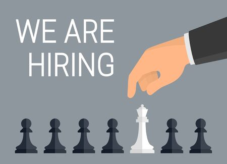 'We are hiring employees' concept. Vector Illustration of human hand over row of chess pieces - pawns and one queen. Flat design style