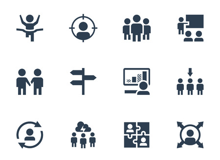 leadership training: Vector icon set of corporate management and leadership training