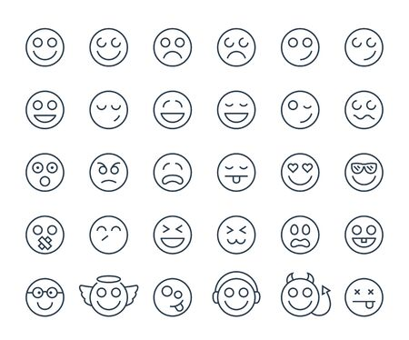 lofty: Set of thin line smile emoticons or smileys on a white background. Icon collection