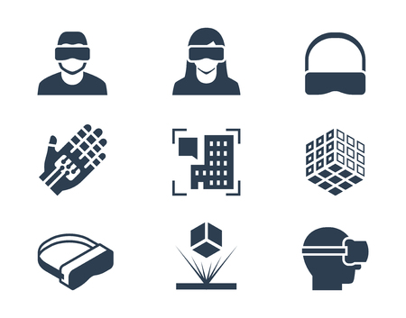 VR of virtual reality, augmented reality en hologram technologie vector icon set Stock Illustratie