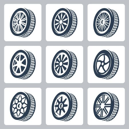 tire cover: Wheel disks and tires vector icon set