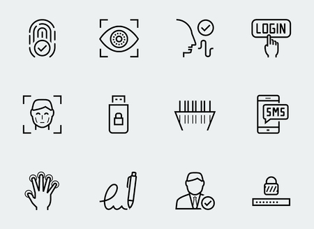 verification: Secure identity verification systems icon set in thin line style