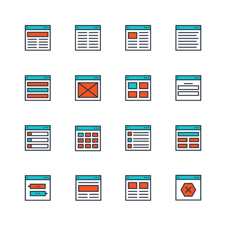 layout design template: Website or application wireframe template and design layout colored icons in thin line style Illustration