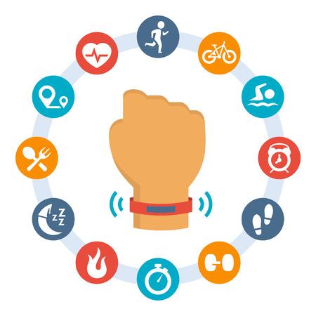 Activité pisteur-bande et ensemble d'icônes connexes Vecteurs