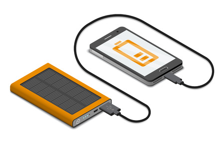 Vector isometric illustration of solar powerbank charging a smartphone Illusztráció