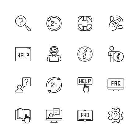 Aiuto e supporto set di icone vettoriali in stile sottile linea