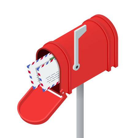 Open red mailbox and letters in it. Isometric vector illustration