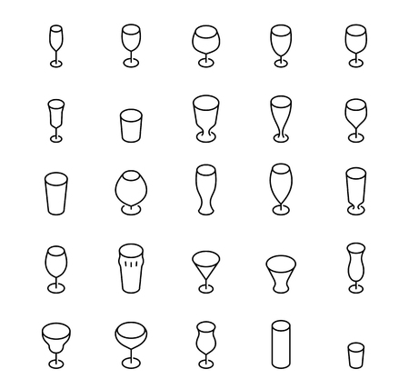 drinkware: Bar glasses vector icon set in thin line style