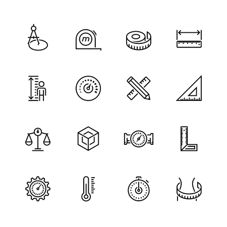 Measuring tools and measures vector icon set in thin line style Stock Illustratie