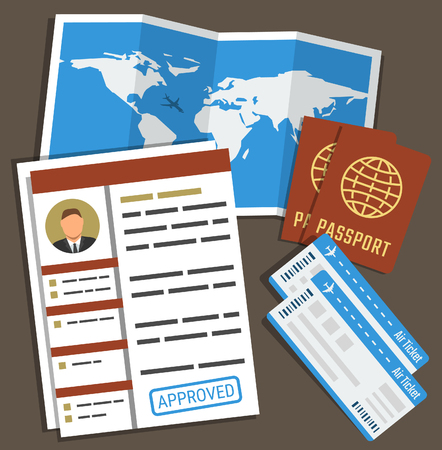 immigrate: Approved visa form, passports, tickets and map. Travel, immigration concept. Vector illustration in flat style Illustration
