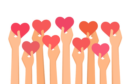 Vector illustration of hands holding hearts high up Illustration