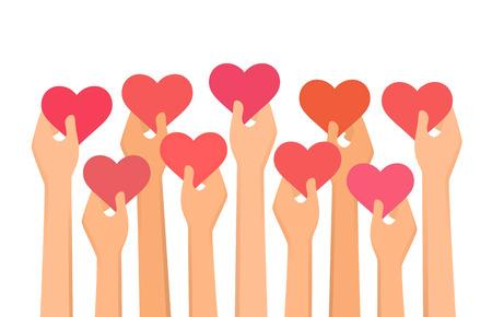 Vector illustration of hands holding hearts high up Çizim