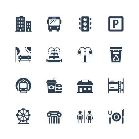 icon: City elements vector icon set