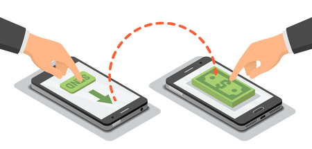 wirelessly: Hands touching smartphones which sending and receiving money wireless, vector isometric illustration