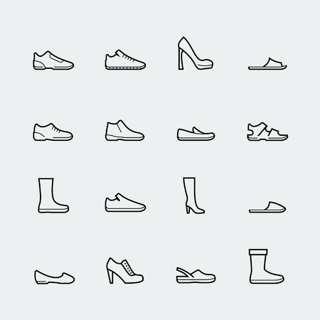 Shoes vector icon set in thin line style Illustration
