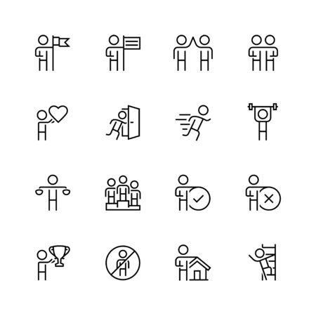 denial: Personal and business concepts vector icon set in thin line style