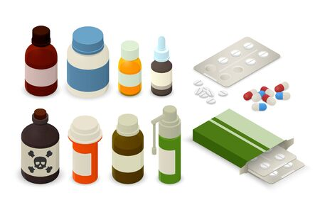 Medicine bottles, tablets, pills and blister package. Isometric vector illustration Illustration