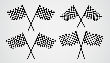 beginnings: Crossed checkered vector flags Illustration