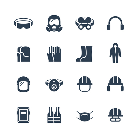 Vector job safety and protection icon set
