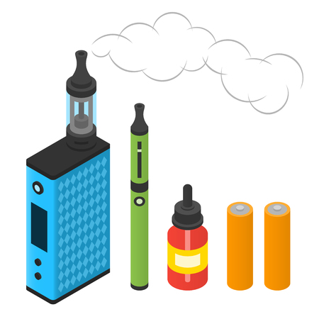 Box mod, batteries, e-cigarette and juice for vaping. Isometric illustration Illustration