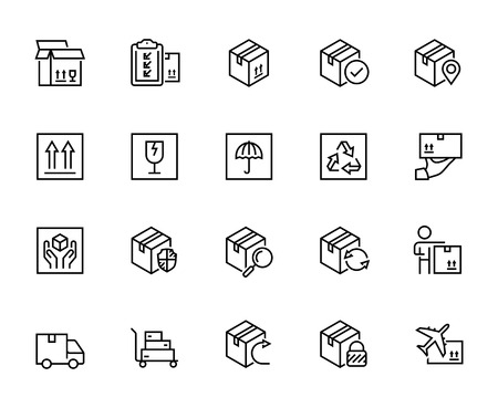 Logistics, shipping and delivery vector icon set in thin line style