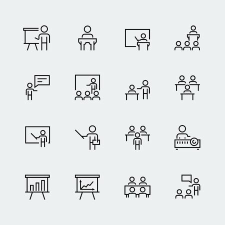 Entrenamiento, icono de presentación en estilo de línea fina Ilustración de vector