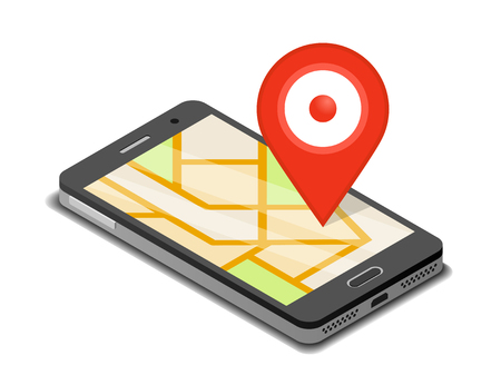 Smartphone, mobile navigation app and map pin. Isometric illustration
