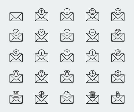 select all: Email vector icon set in thin line style Illustration