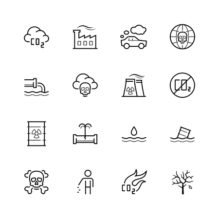 crack pipe: Vector pollution icon set in thin line style