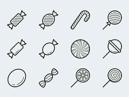 Candy vector icon set in thin line style  イラスト・ベクター素材