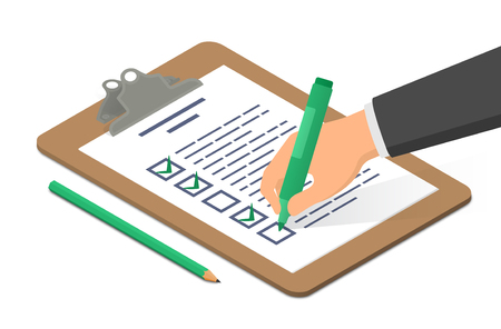 Hand holding highlighter checking list on clipboard accompanied by pencil. Isometric vector illustration