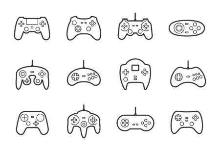 Gamepads vector icon set in thin line style Illustration
