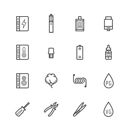 propylene: Vaping devices and accessories icon set in thin line style Illustration