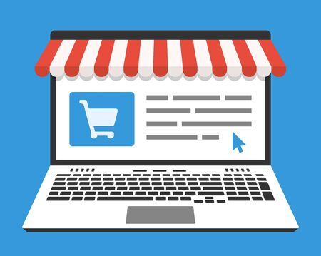 web store: Laptop and web store on screen. Vector illustration in flat design style