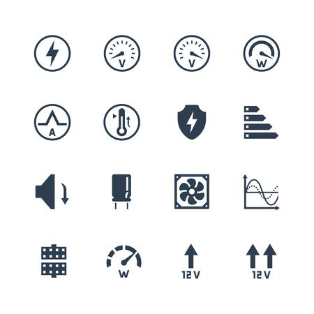 PSU o unidad de fuente de alimentación para equipo de escritorio vector icono conjunto. Protecciones y características