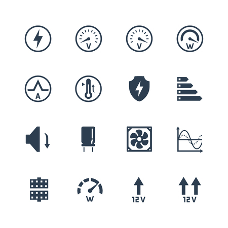 psu: PSU or power supply unit for desktop computer vector icon set. Protections and features Illustration