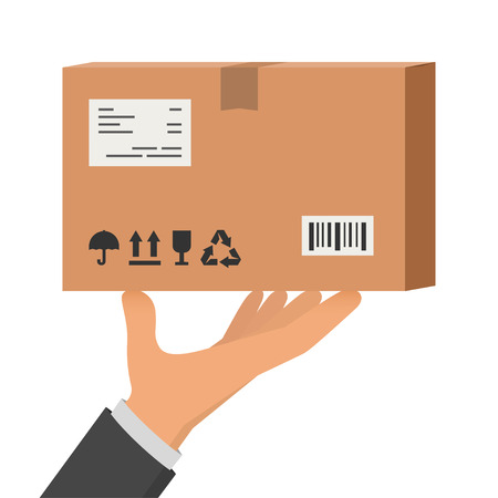 man carrying box: Hand holding package, parcel, vector illustration